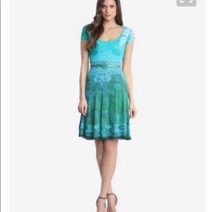Desigual Paris fit flare dress teal size M